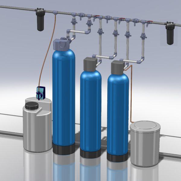 Комплекс очистки воды от большого железа,жёсткости и бактерии и запаха на 1.5-2.5 Куб/час